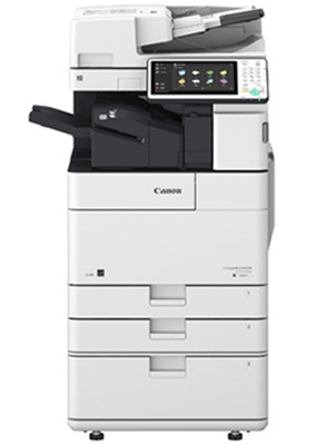 White Canon imageRUNNER ADVANCE 4535 copier with three paper trays